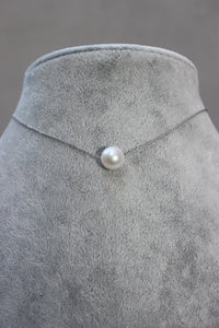 Sliding Pearl on Sterling Necklace