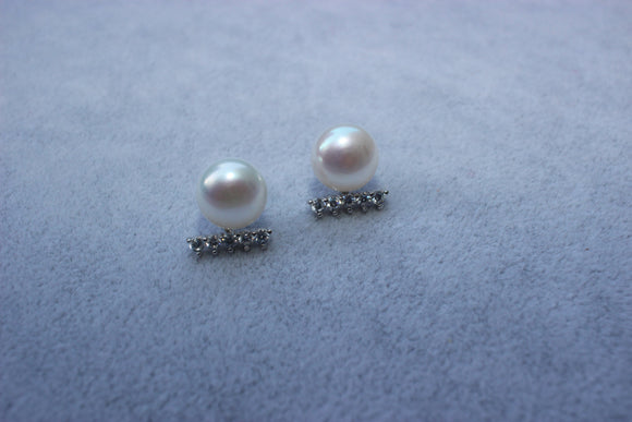 Pearl Studs with Crystal Underline