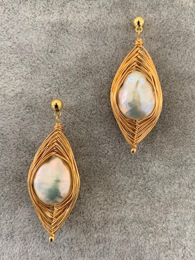 Gold Filled Coin Pearl Earrings