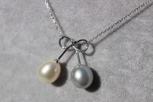 Silver Necklace - White & Lost Blue Pearl in Ribbon