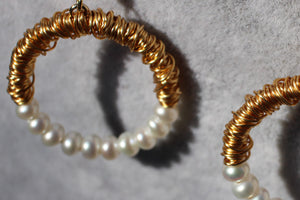 Gold Filled & Pearl Hoop Earrings