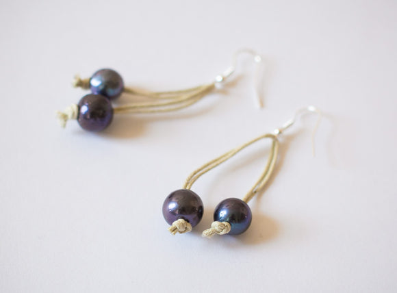 Synthetic Leather & Double Black Pearl Earrings
