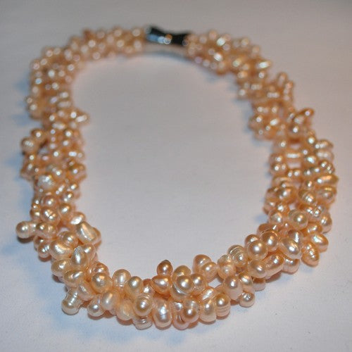 Snowflake Peach Pearl Necklace