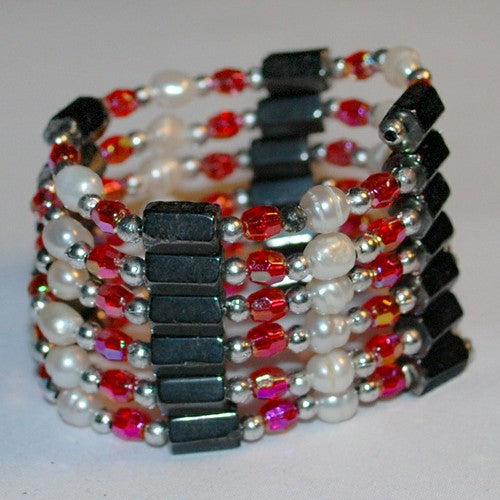 Ruby Hematite and Pearl Bracelet/Necklace