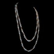 Long Strand Tri-color Pearl Necklace