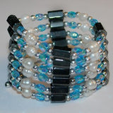 Sky Blue Hematite and Pearl - Bracelet/Necklace