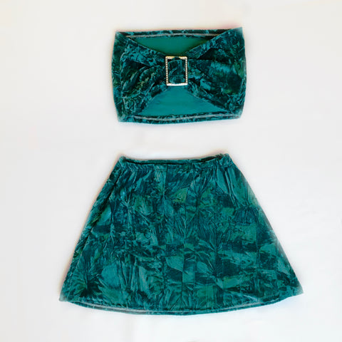 Teal Velvet Luxe Crushed Set (4-6 XXS-XS)