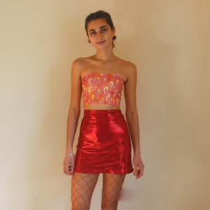 Red High Shine Skirt