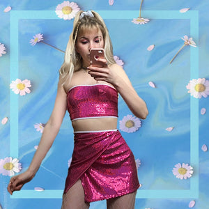 Pink disco two piece