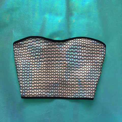 Triangles Holo Bow Back Crop