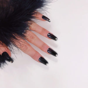 24 Hand Painted Black Nails with Gem