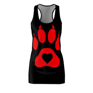 Women's Racerback Dress Paw Red