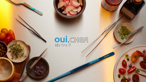 oui chef flatlay tweezers hero with logo