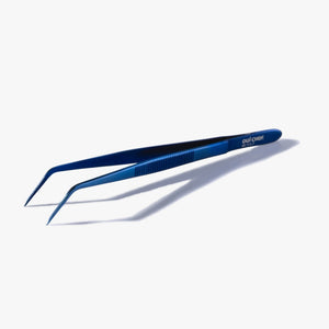 oui chef 14cm angled tip superfine metallic blue tweezers