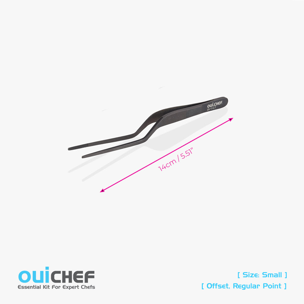 oui chef cooking kitchen tweezers 14cm Offset Regular Jet Black small
