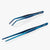 oui chef cooking kitchen tweezers Kit #5 30cm Straight + 20cm Angled Regular  Metallic Blue