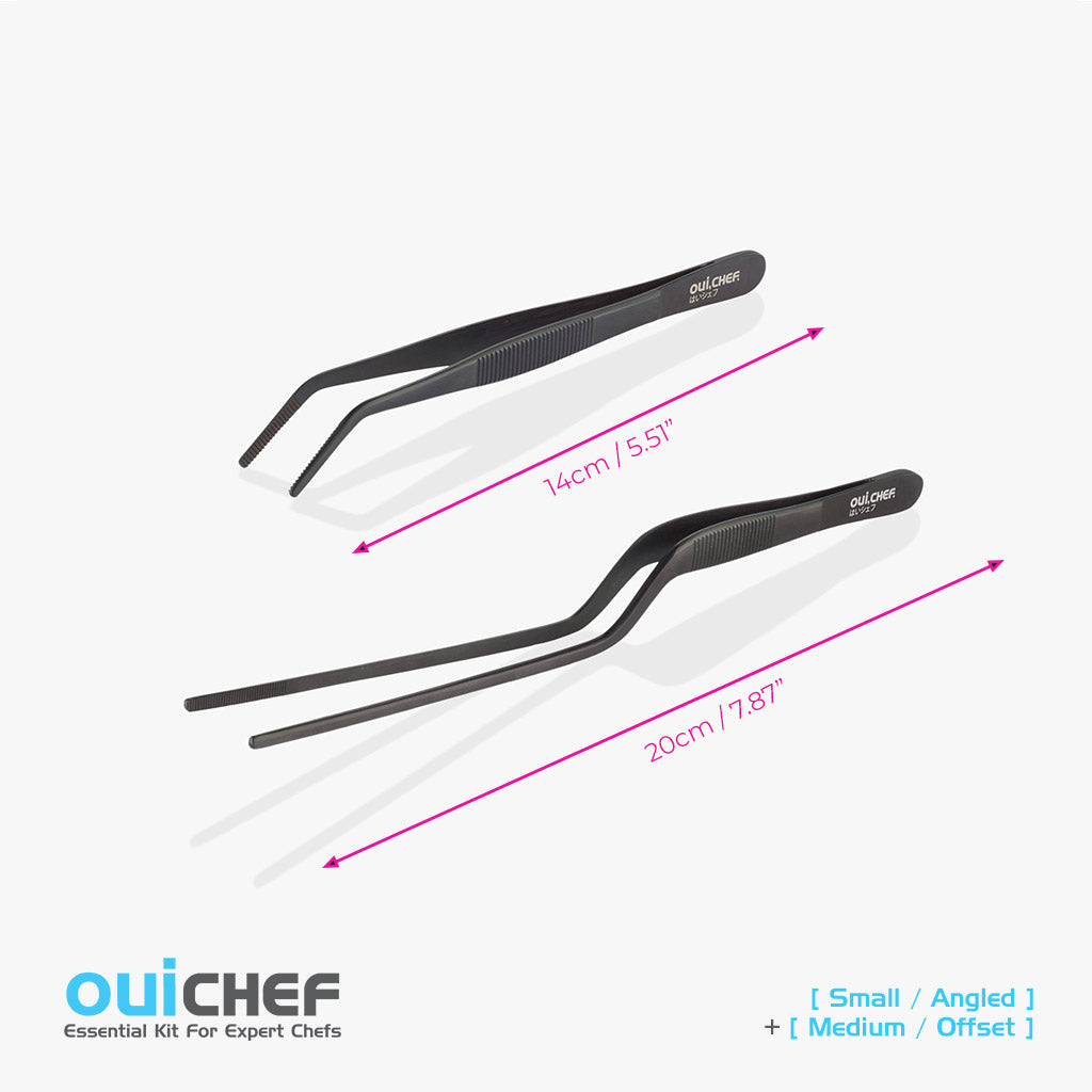 oui chef cooking kitchen tweezers Kit #2 20cm Offset + 14cm Angled Regular Jet Black