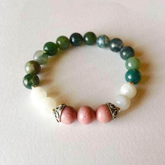 Cancer Sign - Genuine Moss Agate, Rhodonite & Rainbow Moonstone Bracelet w/ Sterling Silver Accents