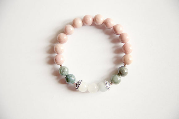 Cancer Sign - Genuine Rhodonite, Moss Agate & Rainbow Moonstone Bracelet w/ Sterling Silver Accents