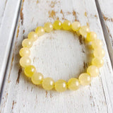 Cancer Bracelet Set - Genuine Moonstone, Rose Quartz & Yellow Calcite