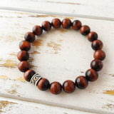 Gemini - Single Stone Bracelet Set - Genuine Multicolored Tiger Eye, Red Tiger Eye & Moss Agate