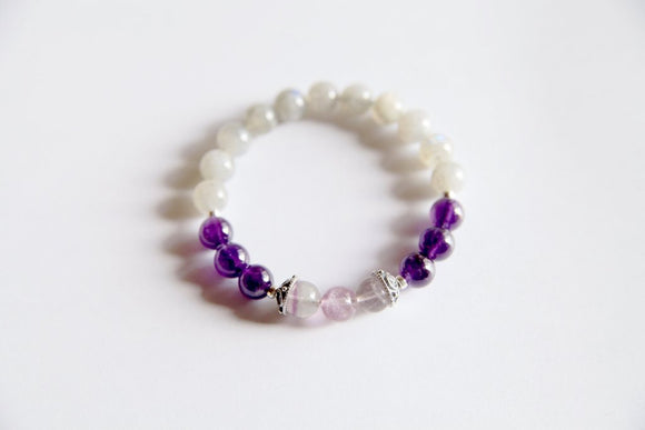 Pisces Sign - Genuine Amethyst, Labradorite & Fluorite Bracelet w/ Sterling Silver Accents