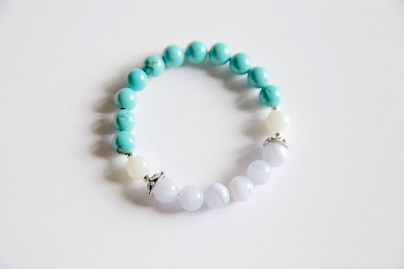 Sagittarius Sign - Genuine Blue Lace Agate, Turquoise and Moonstone Bracelet w/ Sterling Silver Accents