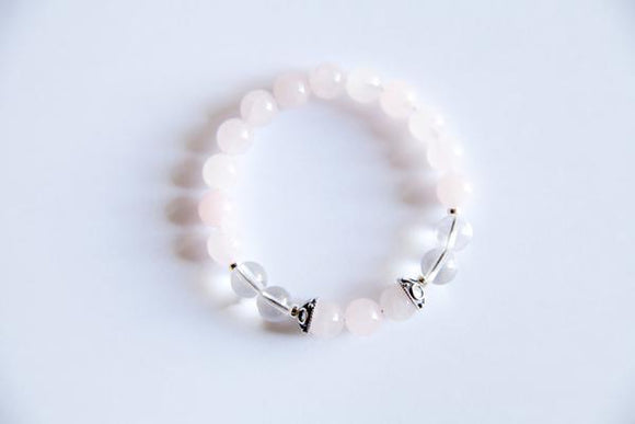 Taurus Sign - Genuine Crystal Quartz & Rose Quartz Bracelet with Sterling Silver Accents