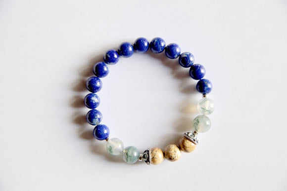 Virgo Sign - Genuine Lapis Lazuli, Moss Agate & Picture Jasper Bracelet w/ Sterling Silver Accents