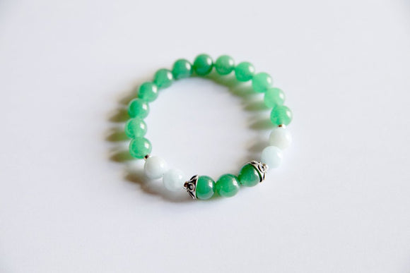 Aries Sign - Genuine Aquamarine & Green Aventurine Bracelet with Sterling Silver Accents