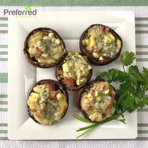 Stuffed Portobello with Zucchini and Ham