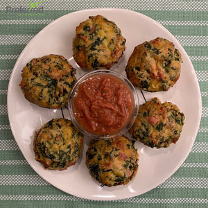 Spinach Balls with Ham and Tomato Dip