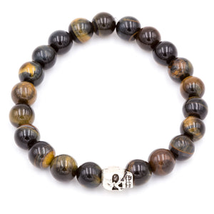 Tiger Eye with Silver Skull | Men's Bracelet