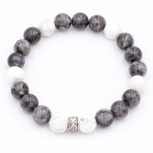 Handmade Labradorite and Howlite gemstone men's bracelets