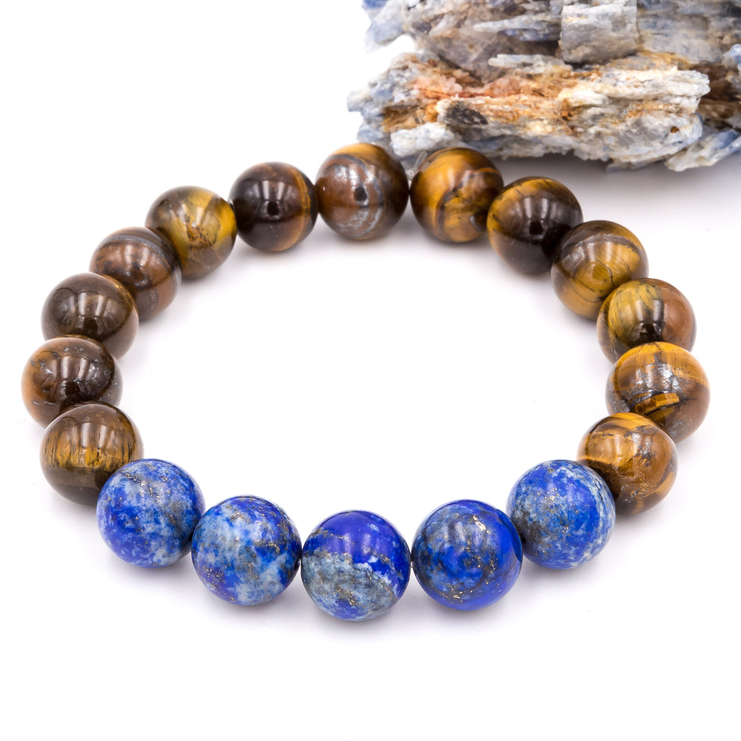 Handmade Tiger Eye and Lapis Lazuli gemstone men's bracelets