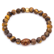 Load image into Gallery viewer, Matted Tiger Eye and Agate | Men's Bracelet