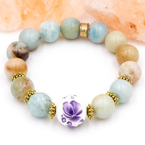 Amazonite with Purple Flowers | Women's Bracelet