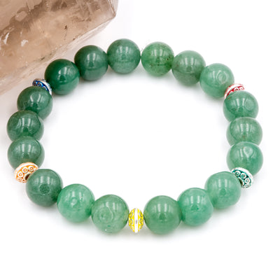 Handmade Aventurine 12mm gemstone bracelet with UFO like spacers