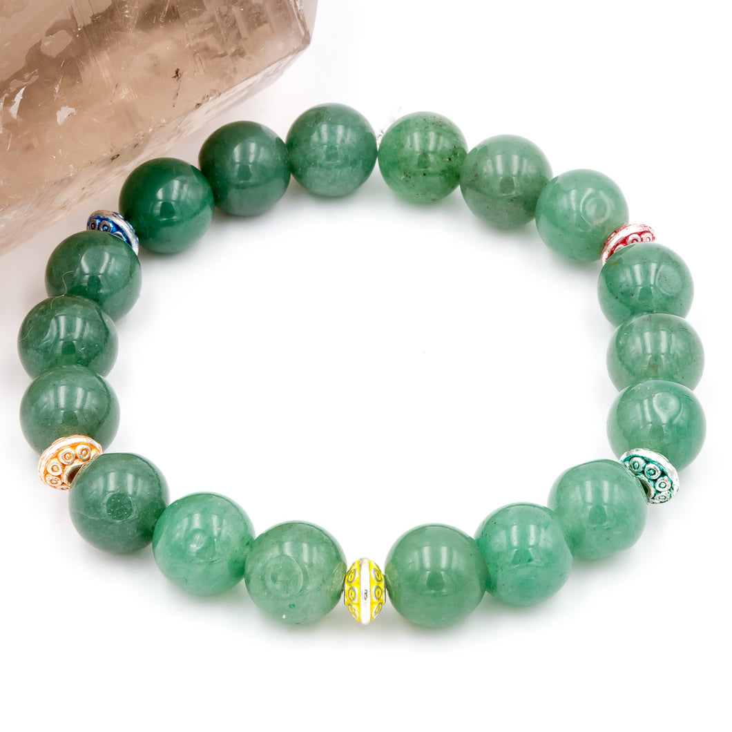 Aventurine and Colored Spacers | Women's Bracelet
