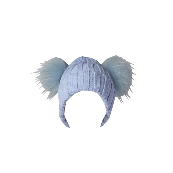 Double Pom Cuffed Toque - Blue