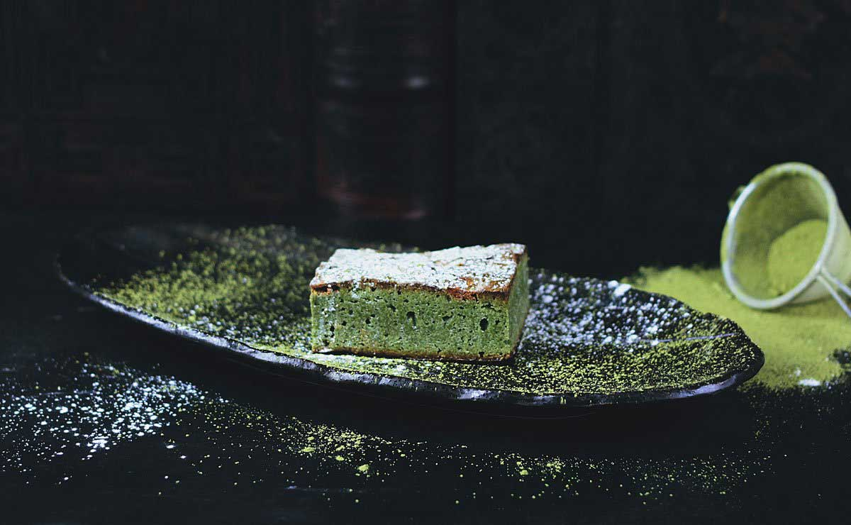 Culinary matcha powder showcased in a green, pound cake