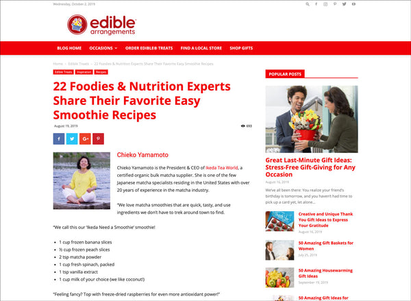 ikeda matcha article on edible arrangements