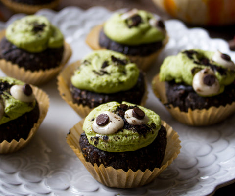 Chocolate cupcakes with a green, matcha dessert frosting