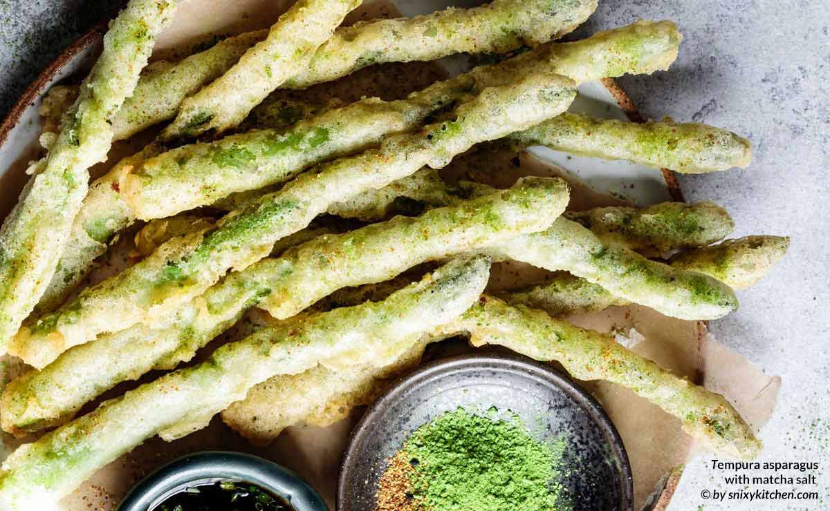 Culinary matcha powder used to make matcha salt for tempura asparagus