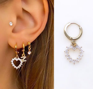 Diamond Earring Diamond Love  (14ct Gold plated)-contains one earring