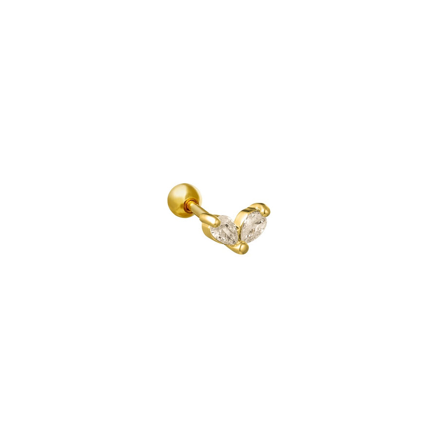 Wings  Diamond  Stud - Gold Plated