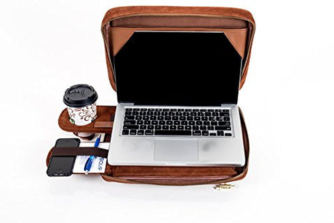 Laptop Bag Converts to a Lap Desk - TaboLap Genuine Brown Suede Computer Bag Doubles as a Lapdesk with Bottle or Cup Holder, 2 Retractable Trays to Store Snacks, Gadgets, and as Mouse Pad. 14 Inches