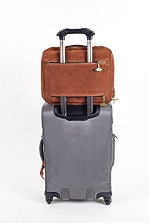 Image of Laptop Bag Converts to a Lap Desk - TaboLap Genuine Brown Suede Computer Bag Doubles as a Lapdesk with Bottle or Cup Holder, 2 Retractable Trays to Store Snacks, Gadgets, and as Mouse Pad. 14 Inches