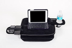 TaboLap Laptop Bag & Lap Desk in One with 2 Retractable Trays with a Drink Holder and Spaces to Hold Snacks and Gadgets - Light Storage only. Full-Sized Lap Desk for Adults and Kids 14 inches. Black Neoprene Laptop Bag Desk