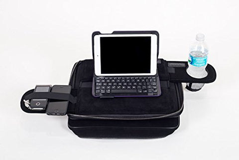 Image of Laptop Bag Converts to a Lap Desk - TaboLap Genuine Black Suede Computer Bag Doubles as a Lapdesk with Bottle or Cup Holder, 2 Retractable Trays to Store Snacks, Gadgets, and as Mouse Pad. 14 Inches. Patented TaboLap Bag Desk